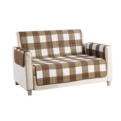 Alba Water Resistant Taupe-Chocolate Fit Polyester Fit Loveseat Slip Cover