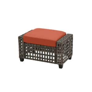 Briar Ridge Brown Wicker Outdoor Patio Ottoman with CushionGuard Quarry Red Cushions