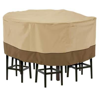 Veranda 94 in. Dia x 29 in. H Round Patio Table and 8 Tall Chairs Set Cover