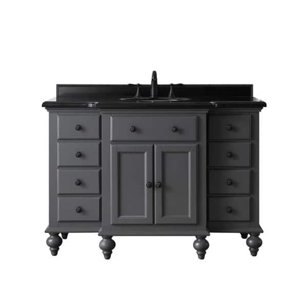 Home Decorators Collection Heartside 48 In W X 23 In D Vanity In Dark Charcoal With Granite Vanity Top In Black With White Basin Heartside 48c The Home Depot