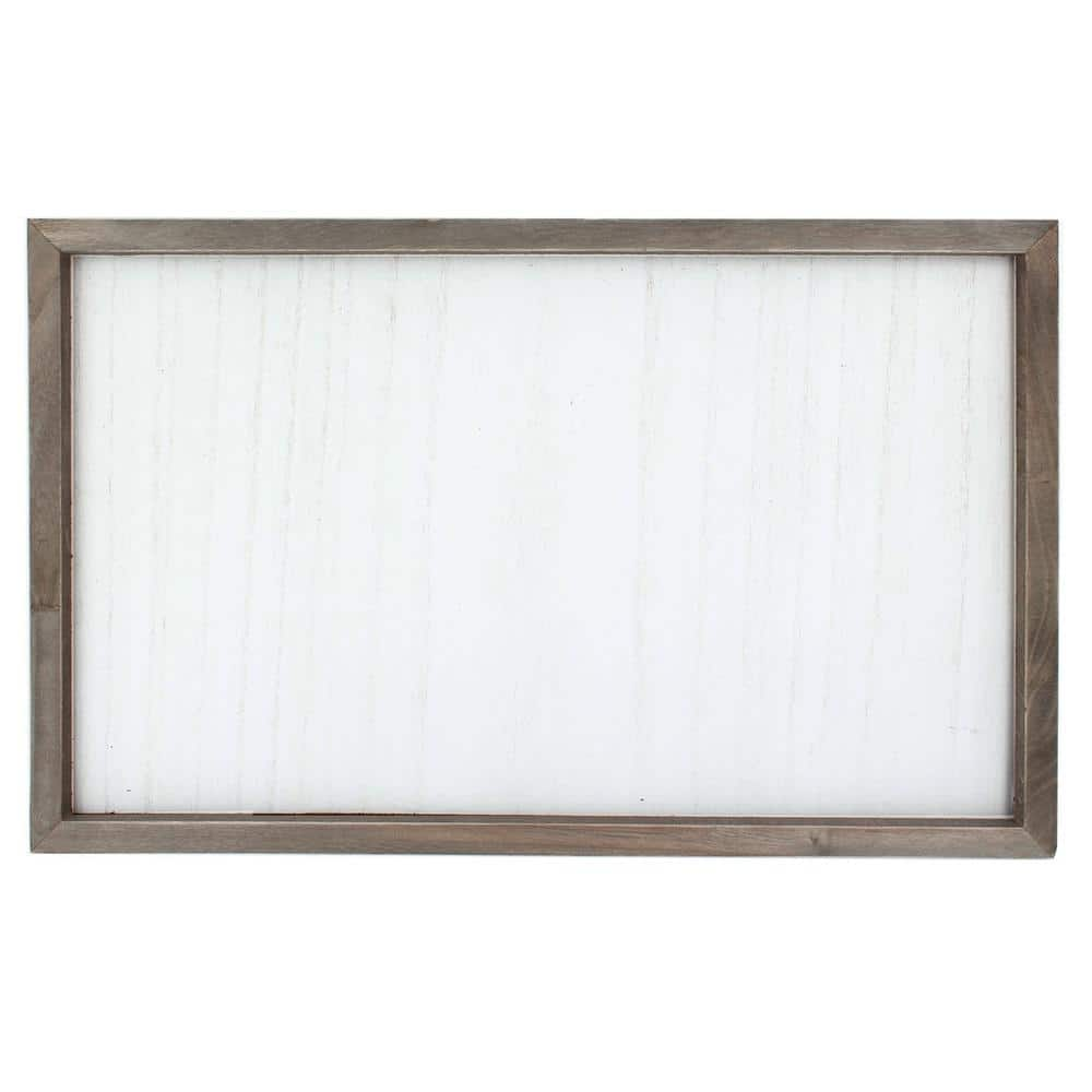 Project Craft DIY Framed Blank Wood Plaque, Dark Wood Frame with Whitewashed Sign, 19 in. x 11.75 in.