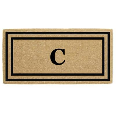 36 in. x 72 in. Heavy Duty Black Thin Double Picture Frame Monogrammed C Coco Door Mat