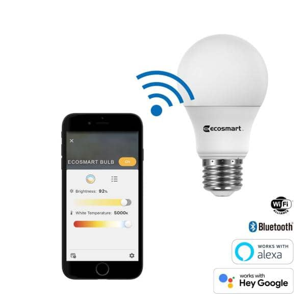 Ecosmart 60 Watt Equivalent Wi Fi And Bluetooth A19 Smart Led Light Bulb Tunable White 2 Pack A10a1960wq1z01 The Home Depot