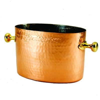 7.25 in. x 10.75 in. x 7 in. Double Champagne and Wine Chiller with Aluminum Insert in Decor Copper