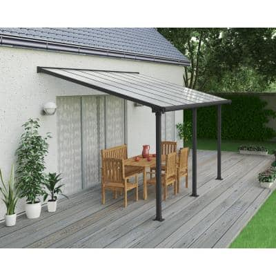 Olympia 10 ft. x 14 ft. Grey/Bronze Patio Cover Awning