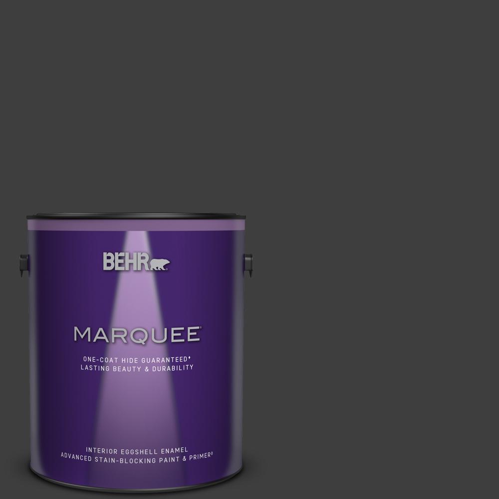 1 gal. #T13-3 Black Lacquer Eggshell Enamel Interior Paint & Primer