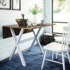 Kalos Solid Wood Drop Leaf Folding Kitchen Dining or Console Table Rustic Oak Top and White Legs