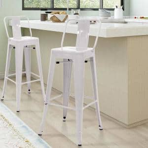 30 in. Glossy White Low Back Metal Bar Stools (Set of 4)
