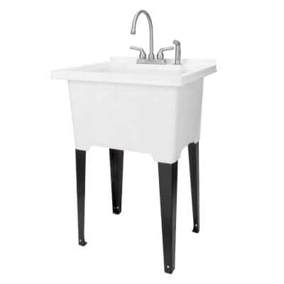 25 in. x 21.5 in. ABS Plastic Freestanding Utility Sink in White - Stainless Gooseneck Faucet, Side Sprayer