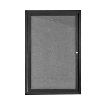 24 in. x 36 in. Grey Black Lockable Enclosed Bulletin Fabric Board Memo Board