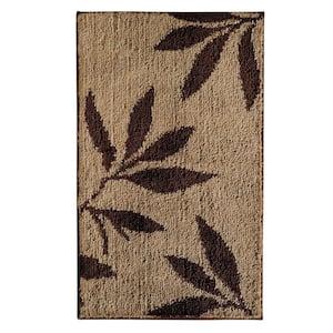 Leaves 34 in. x 21 in. Bath Rug in Brown/Tan
