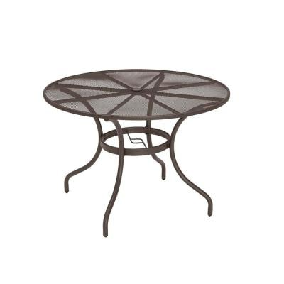 42 in. Mix and Match Brown Mesh Metal Round Outdoor Patio Dining Table