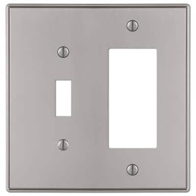Ansley 2 Gang 1-Toggle and 1-Rocker Metal Wall Plate - Brushed Nickel