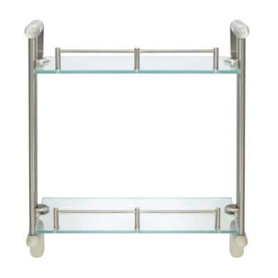 Oval 14.75 in. W Double Glass Wall Shelf with Pre-Installed Rails in Satin Nickel