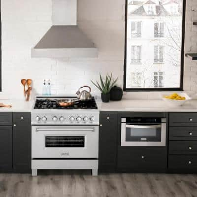 36 in. 4.6 cu. ft. Dual Fuel Range with Gas Stove and Electric Oven in DuraSnow Stainless Steel