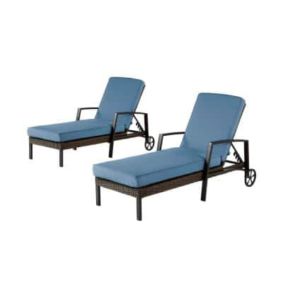 Whitfield Dark Brown Wicker Outdoor Patio Chaise Lounge with CushionGuard Steel Blue Cushions (2-Pack)