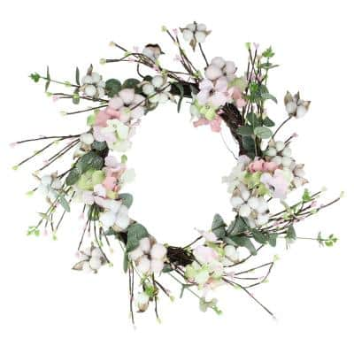 18 in. Cotton and Hydrangea Wreath in Pink and Green