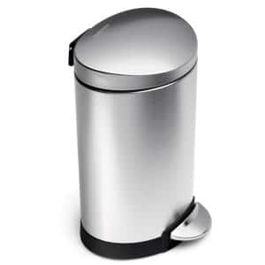 6-Liter Fingerprint-Proof Brushed Stainless Steel Semi-Round Step-On Trash Can