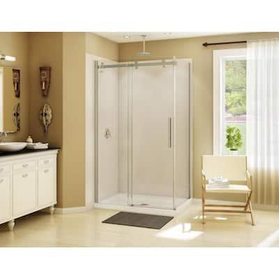 Halo 48 in. x 31-7/8 in. Frameless Corner Sliding Shower Enclosure in Brushed Nickel