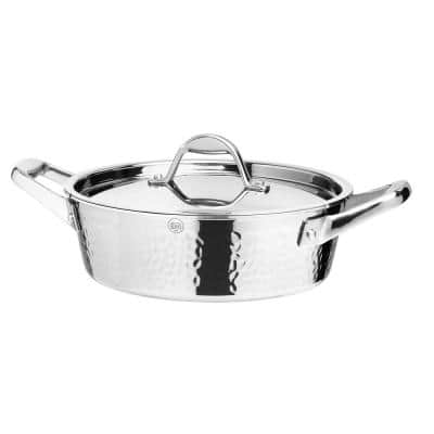 STERN 2.6 Qt. Hammered Stainless Steel Tri-Ply Braiser with Lid