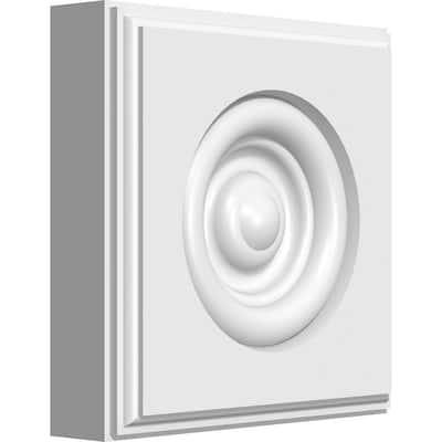 1 in. x 4 in. x 4 in. PVC Standard Sedgwick Bullseye Rosette with Beveled Edge Moulding