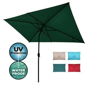 10 ft. x 6.5 ft. Rectangular Market Patio Umbrella Outdoor with Push Button Tilt and Crank in Dark Green