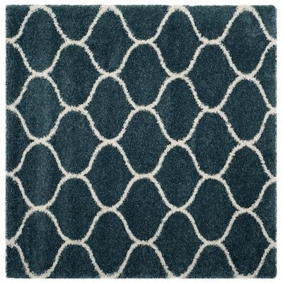 Hudson Shag Slate Blue/Ivory 7 ft. x 7 ft. Square Trellis Geometric Area Rug
