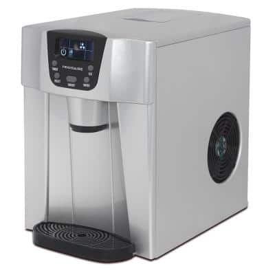 26 lbs. Freestanding Ice Maker and Water Dispenser in Silver