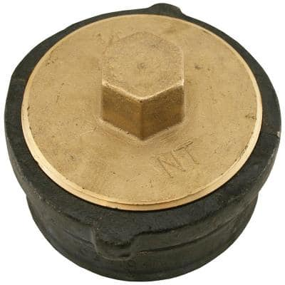 3 in. x 2-1/8 in. No Hub Cast Iron Cleanout with 2-1/2 in. Raised Head Heavy Plug for DWV