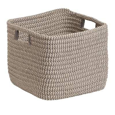 Grey 12 in. x 12 in. x 10 in. Carter Square Polypropylene Braided Basket
