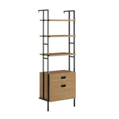 New Hyde 74.882 in. H Serene Walnut Finish Engineered Wood 4-Shelf Wall Mounted Bookcase with Drawers