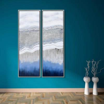 Sand Art Textured Metallic Hand Painted by Martin Edwards Framed Abstract Diptych Set Canvas Wall Art