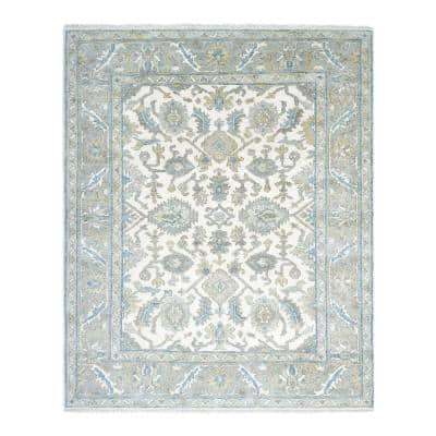 Winston Traditional Oushak Ivory 9 ft. x 12 ft. Floral Handmade Area Rug