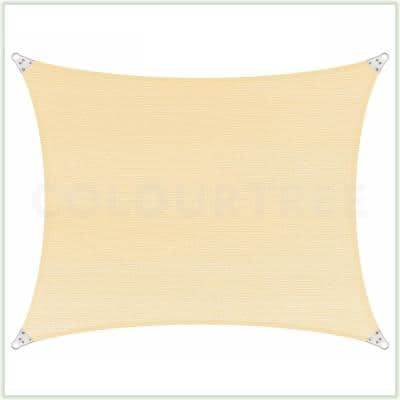 24 ft. x 20 ft. 260 GSM Reinforced (Super Ring) Beige Rectangle Sun Shade Sail Screen Canopy, Patio and Pergola Cover