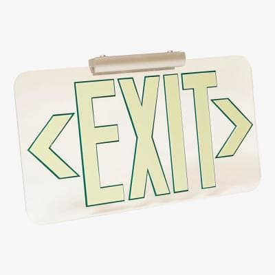 Clear Lucite 50' Visibility 5 fc Rated Energy-Free Photoluminescent UL924 Emergency Exit Sign LED Compliant - GR Outline