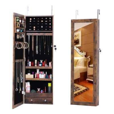 Fashion Antique Brown Jewelry Armoire With LED Lights & Mirror Simple Lockable Storage Organizer Door / Wall Mounted