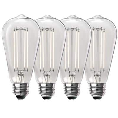 100-Watt Equivalent ST19 Dimmable Straight Filament Clear Glass Vintage Edison LED Light Bulb, Daylight (4-Pack)