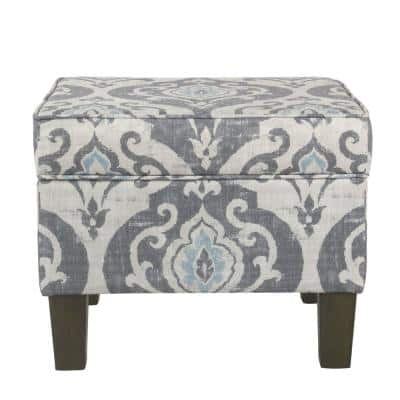 18 in. H Gray and Blue Wooden Ottoman with Patterned Fabric Upholstery and Hidden Storage