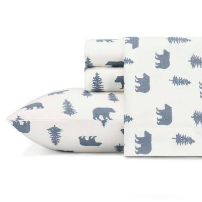 Bears and Trees 4-Piece White and Blue Graphic Flannel Full Sheet Set