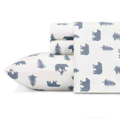 Bears and Trees 4-Piece White and Blue Graphic Flannel Queen Sheet Set