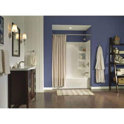 Darcy 3-Piece Press and Mark Bath Hardware Set with 18 in. Towel Bar, Paper Holder and Towel Ring in Brushed Nickel