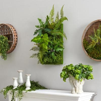 24 in. x 16 in. Artificial Mixed Foliage Living Wall