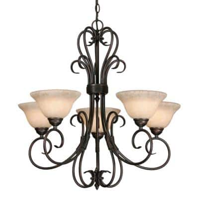 Homestead Collection 5-Light Rubbed Bronze Chandelier