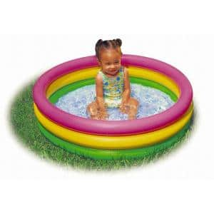 Sunset Glow 34 in. x 10 in. D Round Colorful Inflatable Baby Swimming Pool, Multi-colored