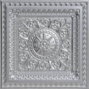 La Scala Silver 2 ft. x 2 ft. PVC Glue-up or Lay-in Faux Tin Ceiling Tile (100 sq. ft./case)