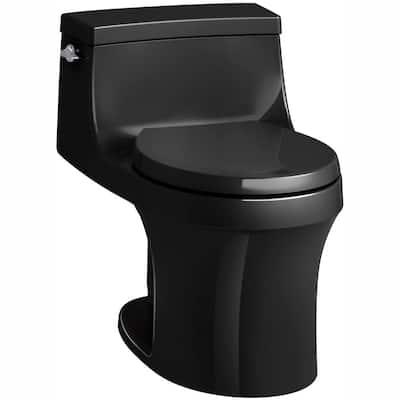 San Souci 1-piece 1.28 GPF Single Flush Round Toilet in Black Black