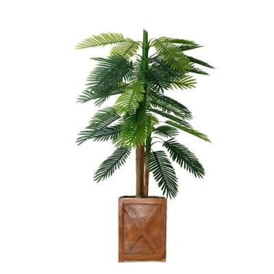67 in. Real Touch Palm Tree in Fiberstone Planter