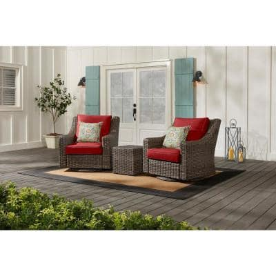Rock Cliff Brown 3-Piece Wicker Outdoor Patio Seating Set with CushionGuard Chili Red Cushions