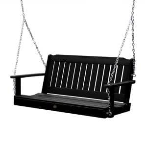 Lehigh 48 in. 2-Person Black Recycled Plastic Porch Swing