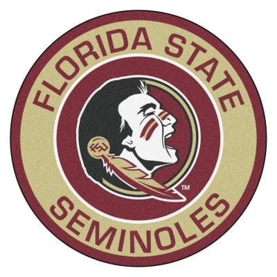 NCAA Florida State University Gold 2 ft. x 2 ft. Round Area Rug